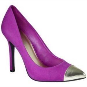 Pink and Gold cap toe heels